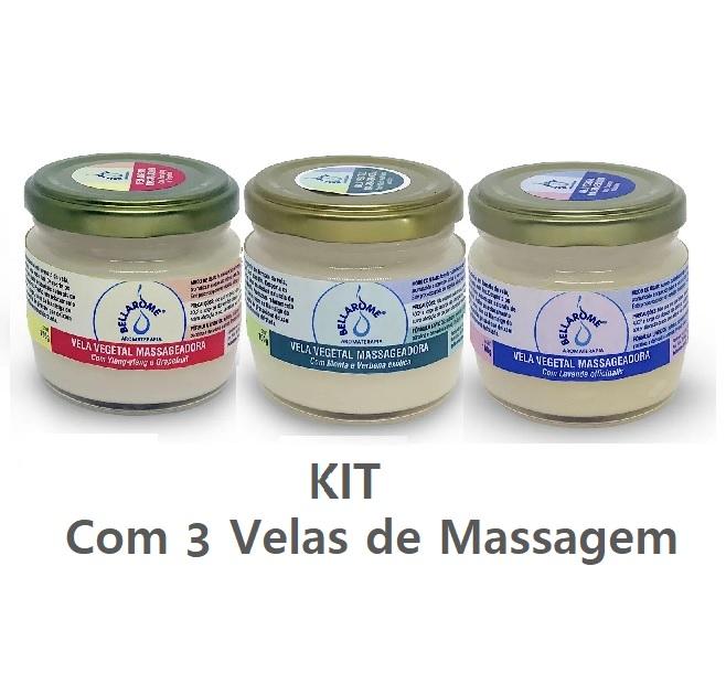 Kit Velas Vegetais Massageadoras - cada uma com 100g   - Bellarome Aromaterapia