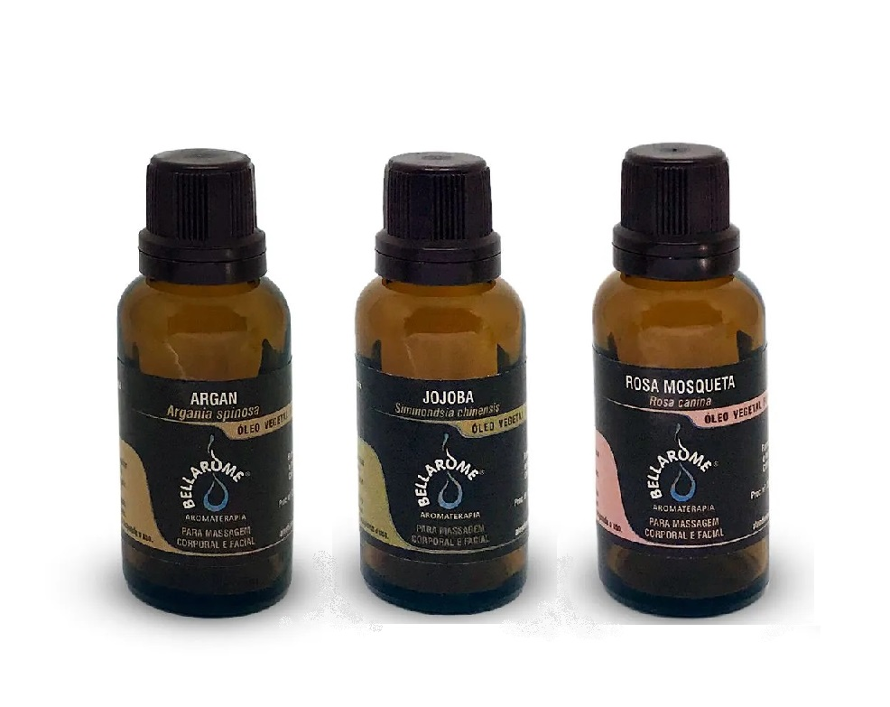 Kit Óleos Vegetais - Argan 30 ml, Jojoba 30ml e Rosa Mosqueta 30ml  - Bellarome Aromaterapia