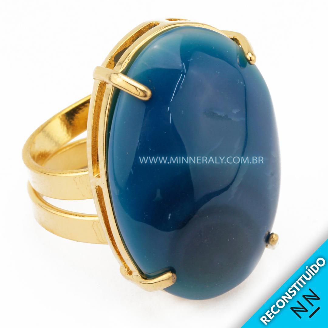Anel Regulável Folheado (Dourado) com Ágata Azul Oval Reconstituído