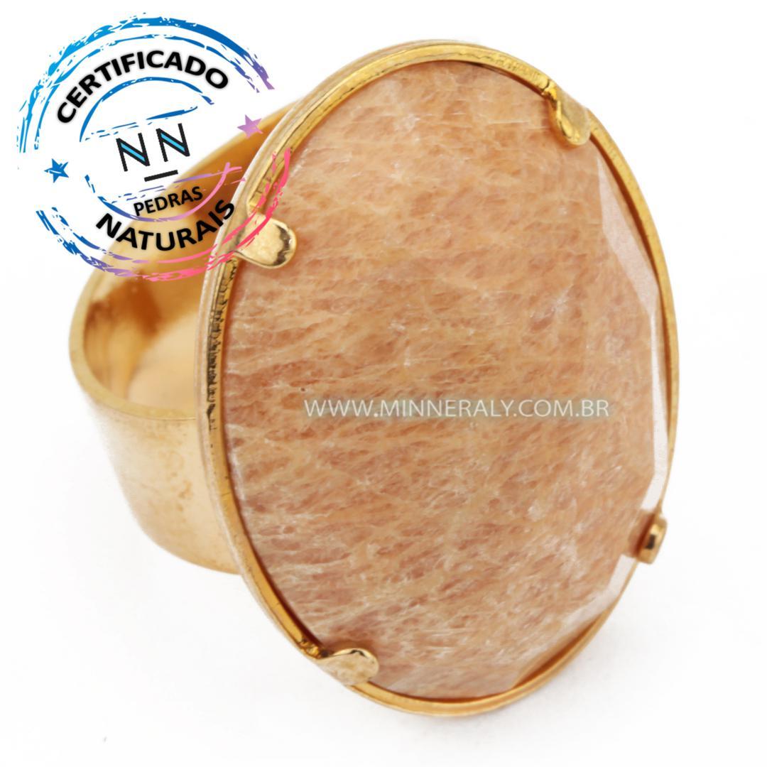 Anel Regulável Folheado (Dourado) com Feldespato Oval Facetado in Natura