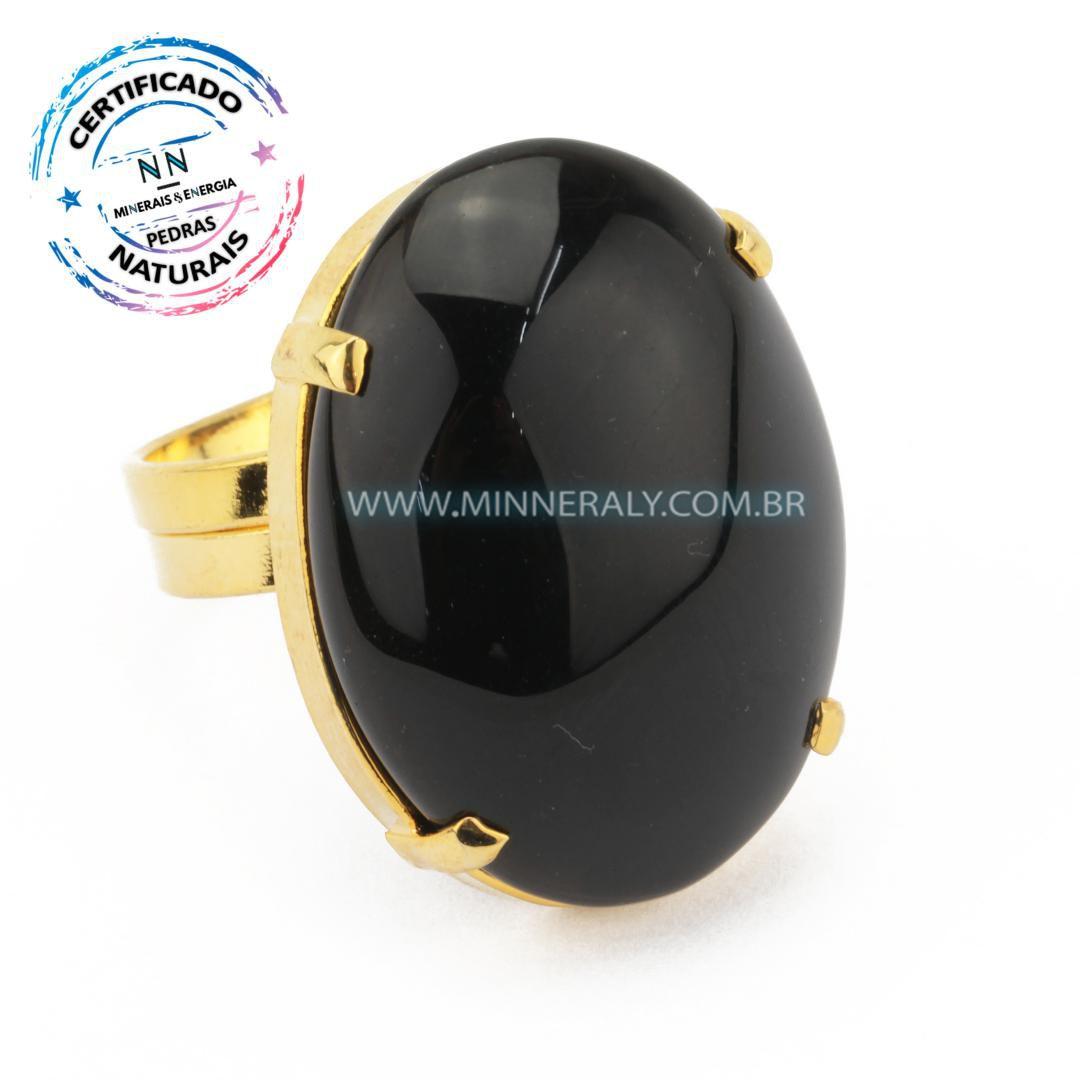 Anel Regulável Folheado (Dourado) com Obsidiana Preta Oval in Natura