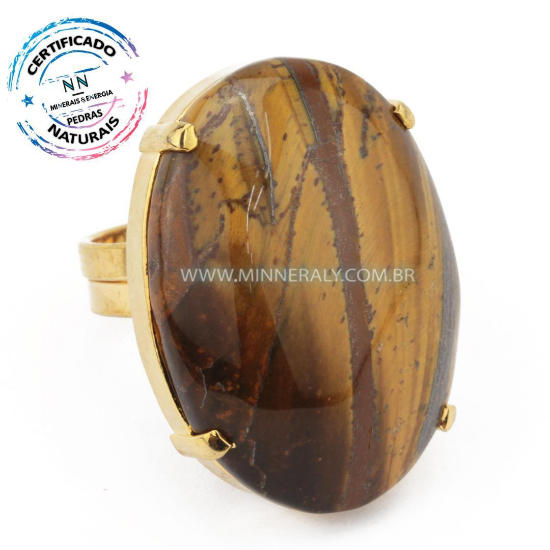 Anel Regulável Folheado (Dourado) com Olho de Tigre Oval in Natura