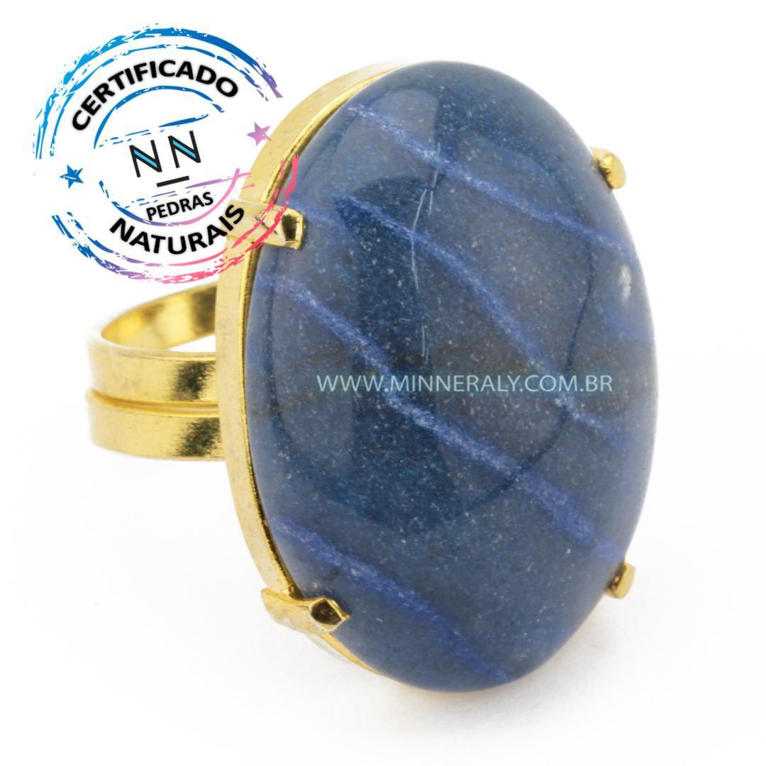 anel Regulável Folheado (Dourado) com Quartzo Azul Oval in Natura