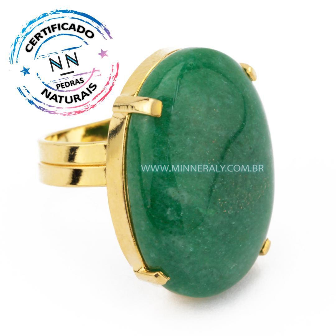 Anel Regulável Folheado (Dourado) com Quartzo Verde Oval in Natura