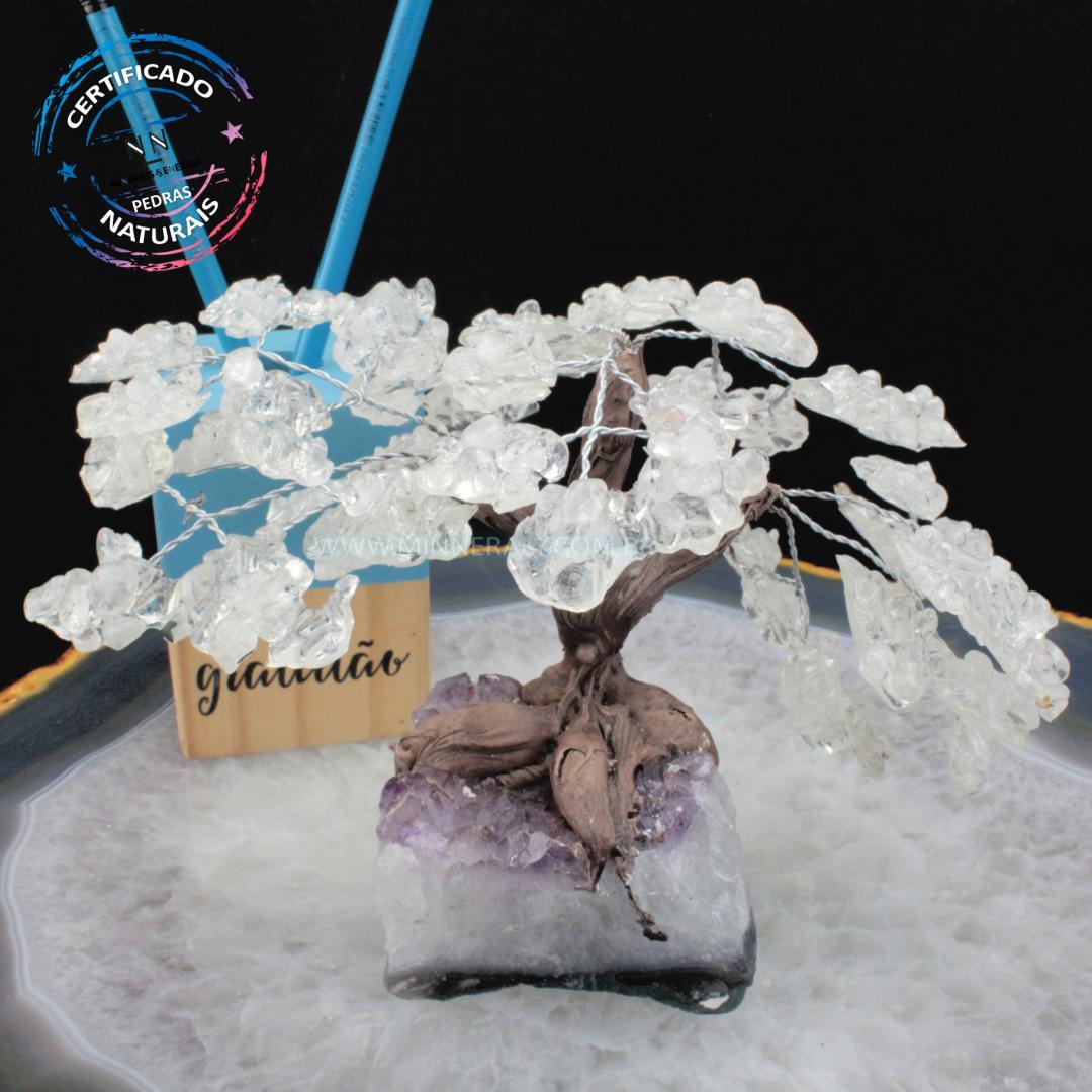 árvore de Cristal Branco com Resina Reconstituída Rolada (altura: 13,0CM)