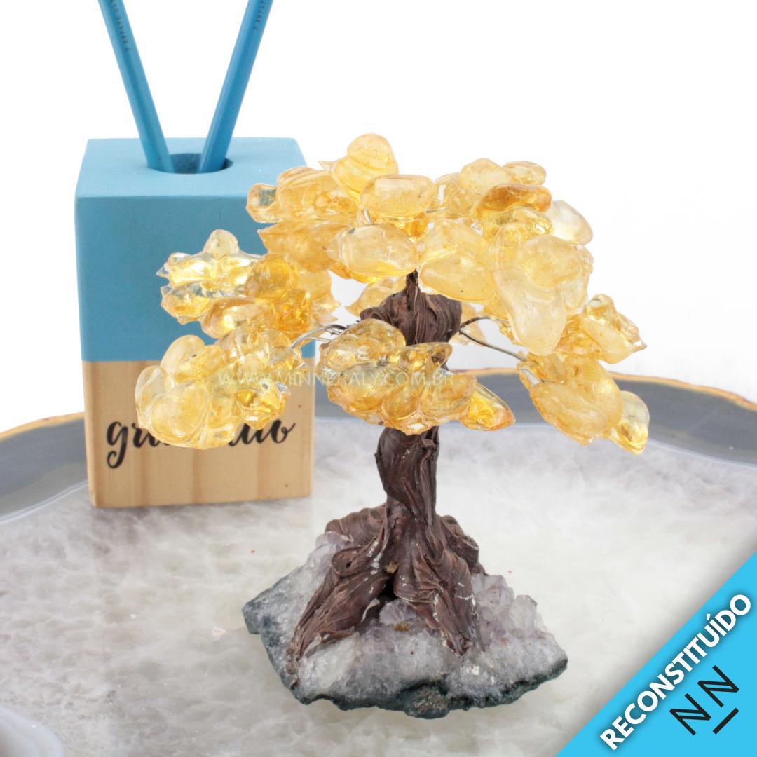árvore de Cristal com Resina Amarela Reconstituída Rolada (altura: 10,0CM)