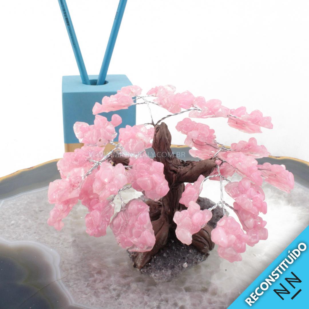 árvore de Cristal com Resina Rosa Reconstituída Rolada (altura: 12,0CM)