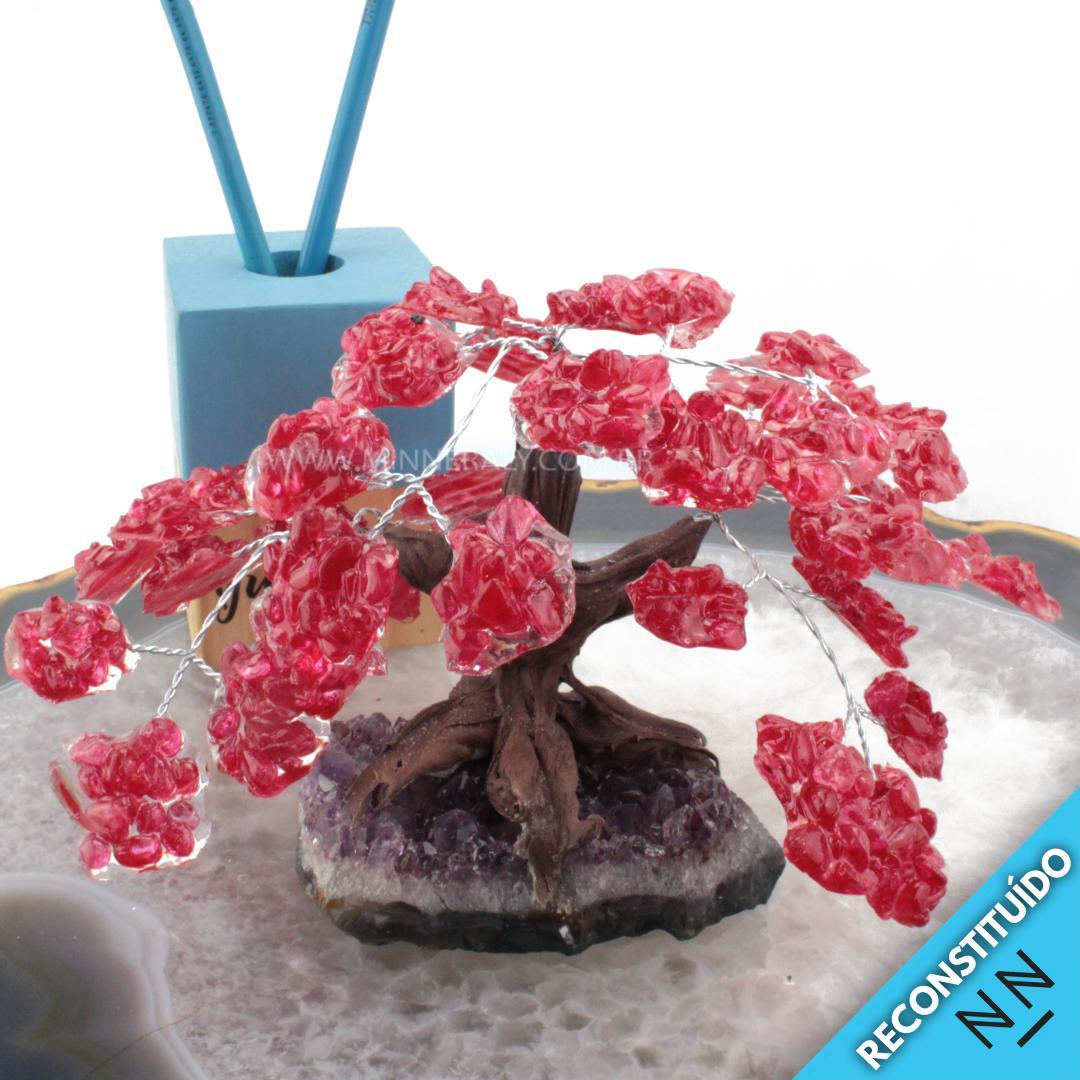 árvore de Cristal com Resina Vermelha Reconstituída Rolada (altura: 12,0CM)