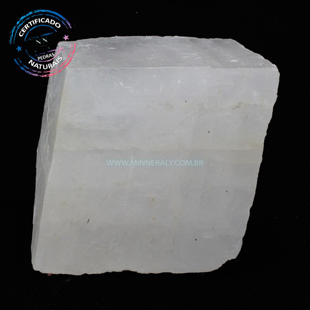 Calcita ótica Branca (espato da Islândia) IN Natura em Bruto (0,980KG; ALT: 7,8CM; COMP: 8,3CM; LARG: 5,7CM)