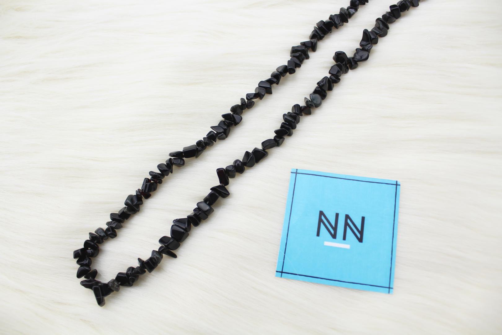 Colar de Obsidiana Preta em Cascalho in Natura