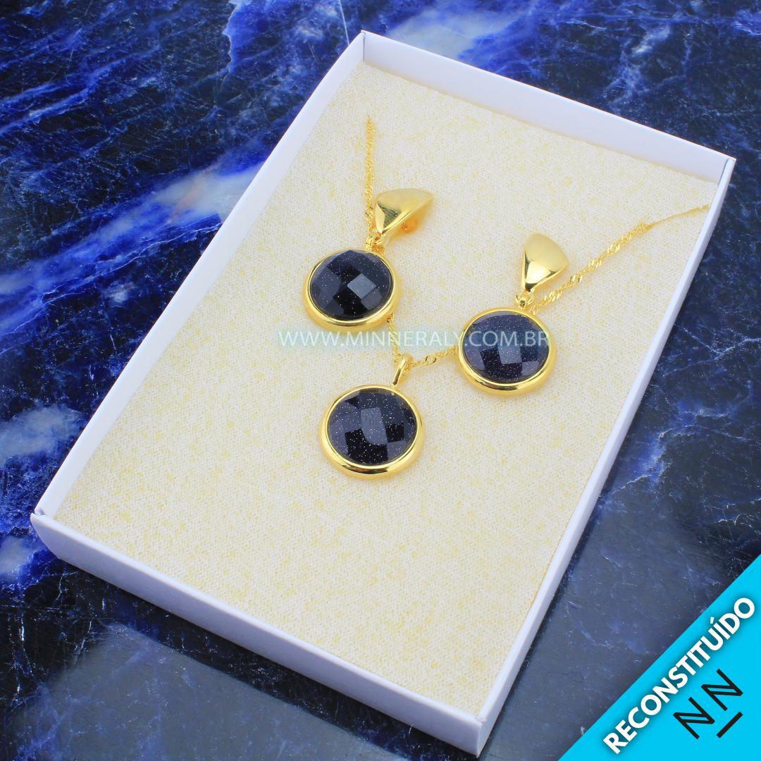 Brinco e Colar Folheado (Dourado) com Pedra Estrela Azul Circular Facetado Reconstituída
