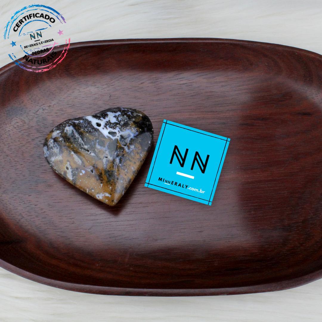 Coracao de AGATA Dendrita Calcedonia IN Natura (0,082KG; ALT: 5,4CM; COMP: 6,0CM; LARG: 2,1CM)