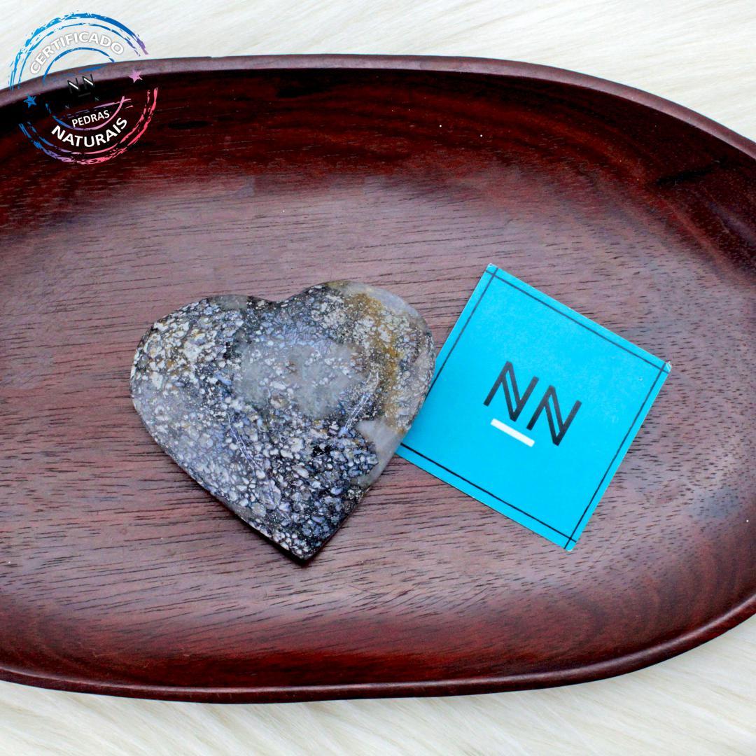 Coração de Ágata Dendríta calcedônia in Natura  (0,106kg; 2,2cm) #NN110
