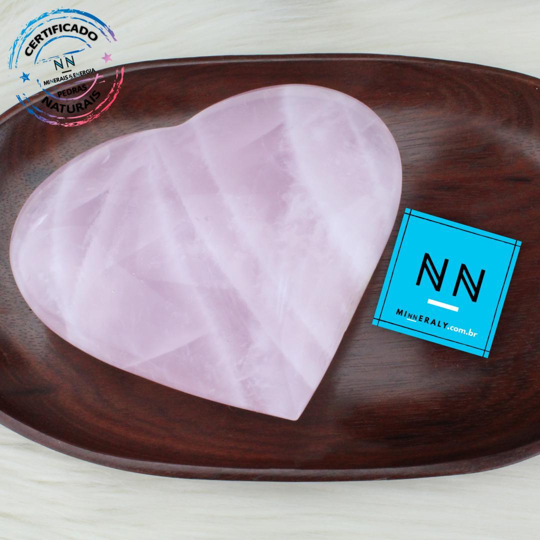 Coracao de Quartzo Rosa IN Natura (0,728KG; ALT: 10,8CM; COMP: 12,7CM; LARG: 4,4CM)