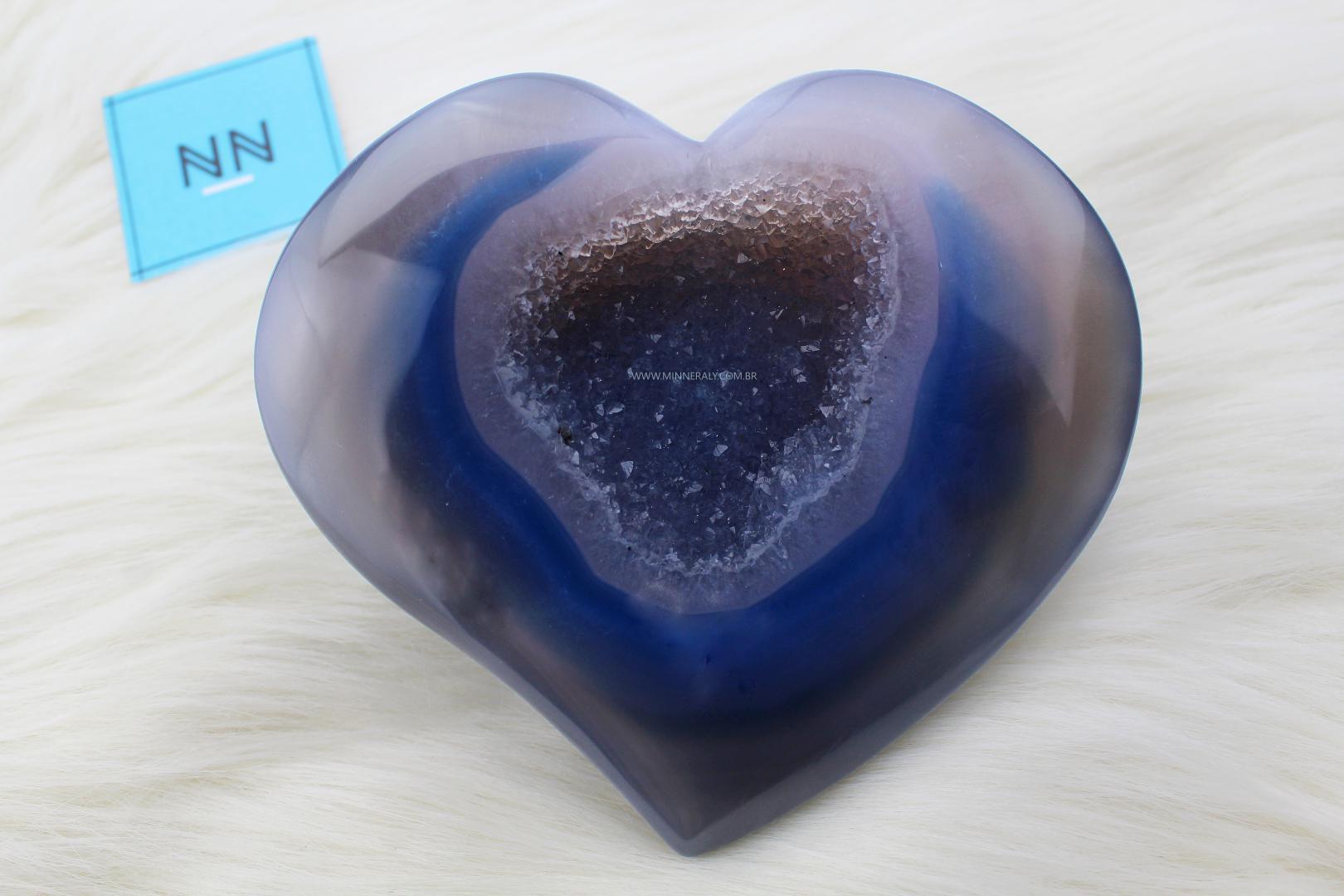 Coração em Geodo de Ágata in Natura (0,950kg; 13,0cm) #NN137