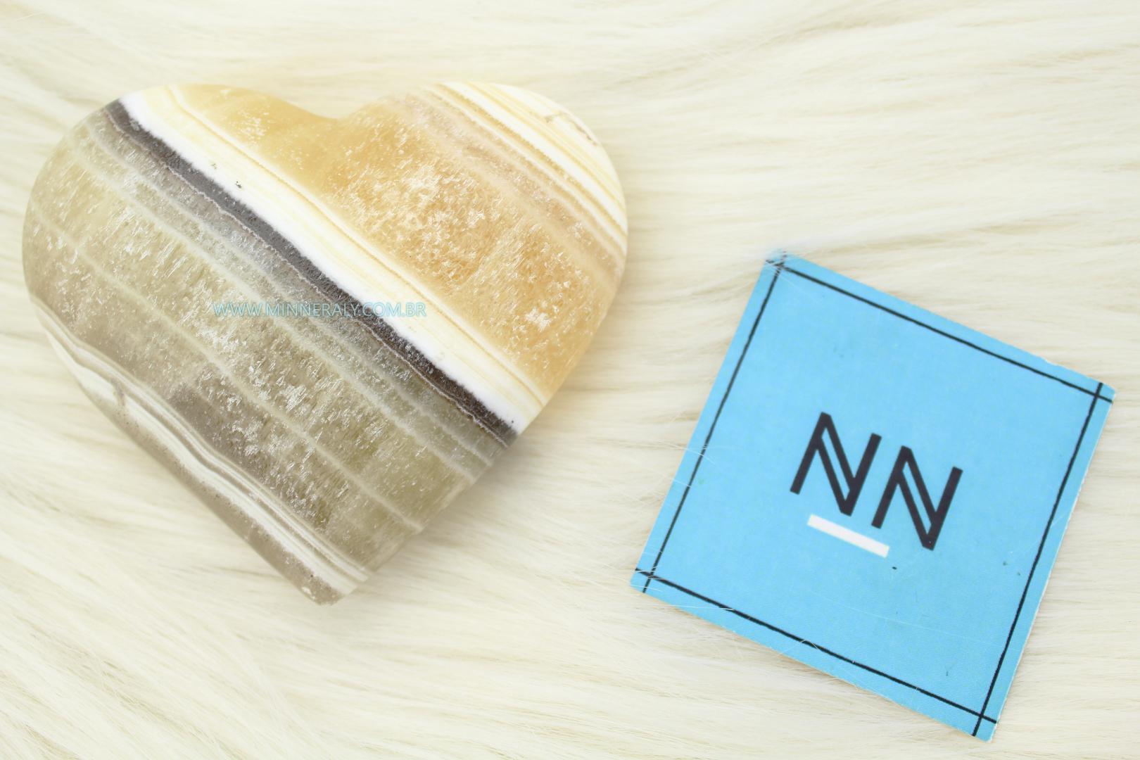 Coração de Ônix Aragonita in Natura  (0,210kg; 2,7cm) #NN118