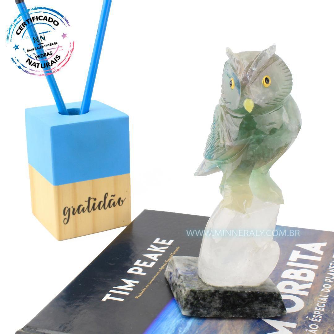 Coruja de  Calcita Verde em Quartzo branco ou Cristal in Natura NN#118
