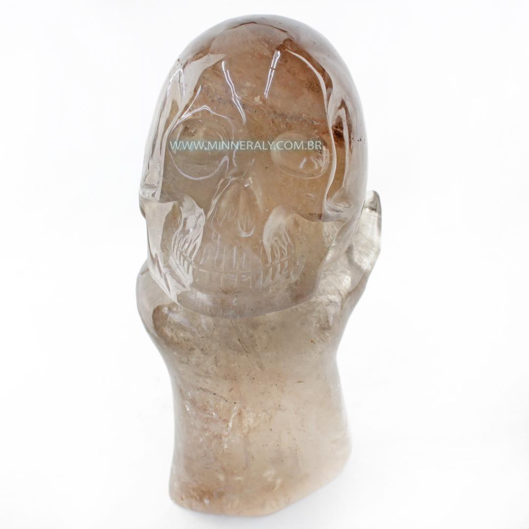 Cranio de Quartzo ou Cristal Fume (enfumacado) IN Natura (6,175KG; ALT: 26,5CM; COMP: 15,3CM; LARG: 13,0CM)