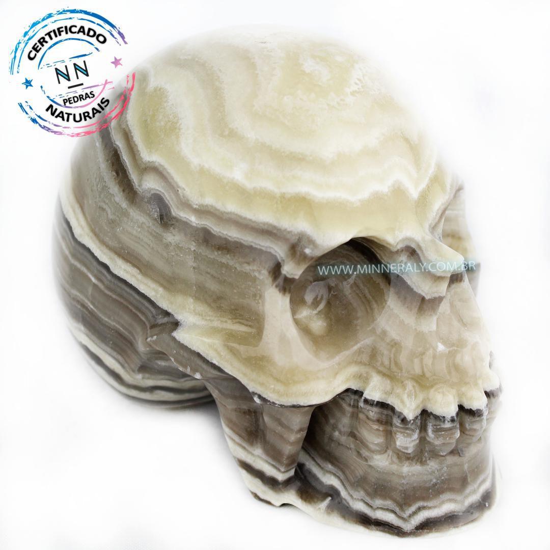 Cranio de ONIX Aragonita IN Natura (2,550KG; ALT: 12,4CM; COMP: 10,2CM; LARG: 15,5CM)