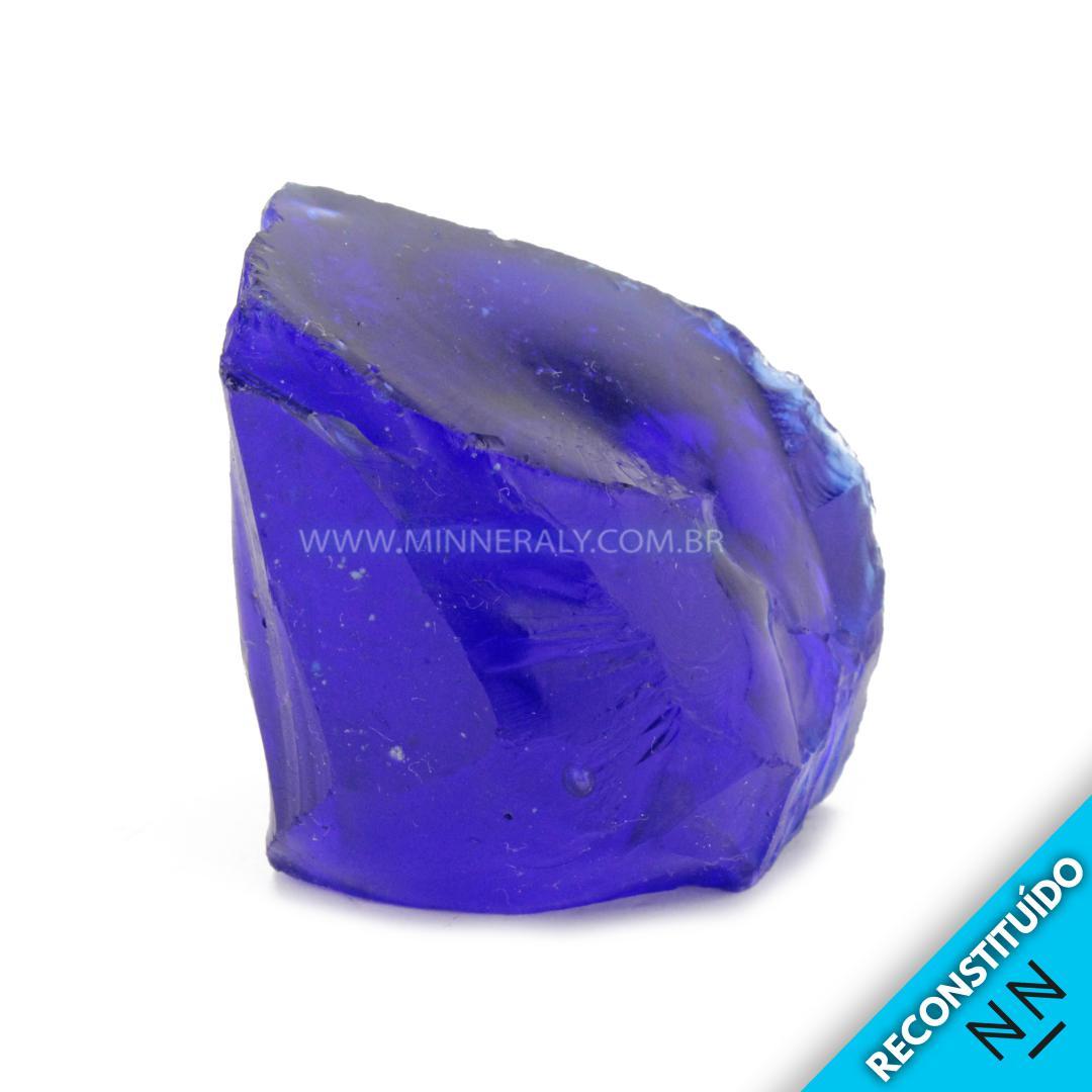 Cristal ANDARA AZUL Reconstituida em Bruto (0,122KG; ALT: 4,8CM; COMP: 4,5CM; LARG: 4,0CM)