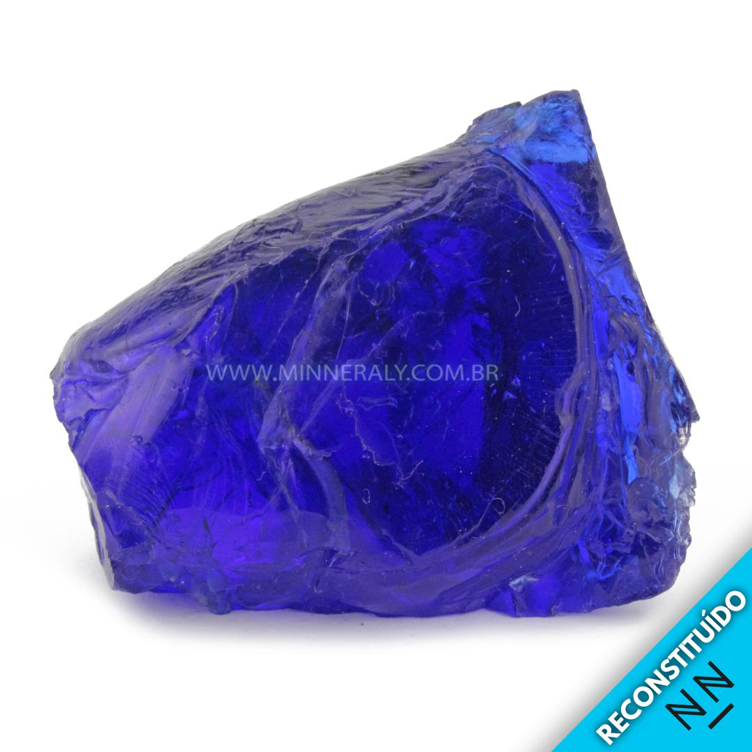 Cristal ANDARA AZUL Reconstituida em Bruto (0,208KG; ALT: 6,0CM; COMP: 7,4CM; LARG: 5,1CM)