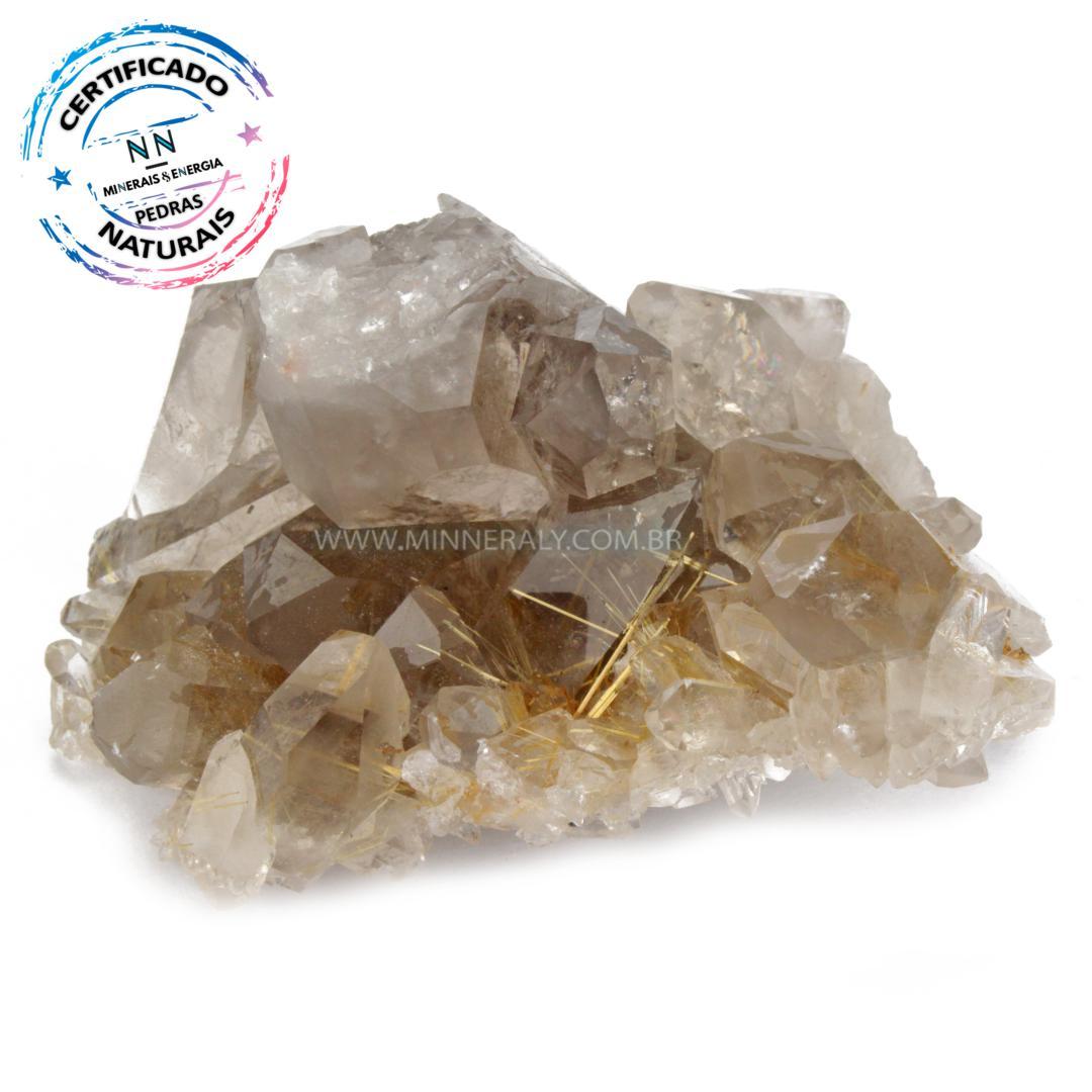 Drusa de Quartzo ou Cristal Branco Com Rutilo Dourado (Enfumaçado) in Natura em Bruto (0,200kg; 4,2cm) #NN118