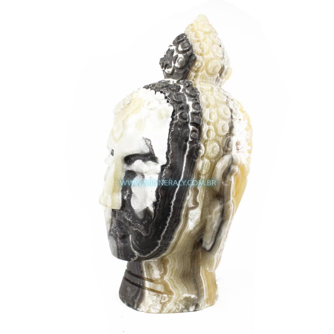 Escultura Buda de Ônix Aragonita in Natura (8,520kg; 31,0cm) #NN102