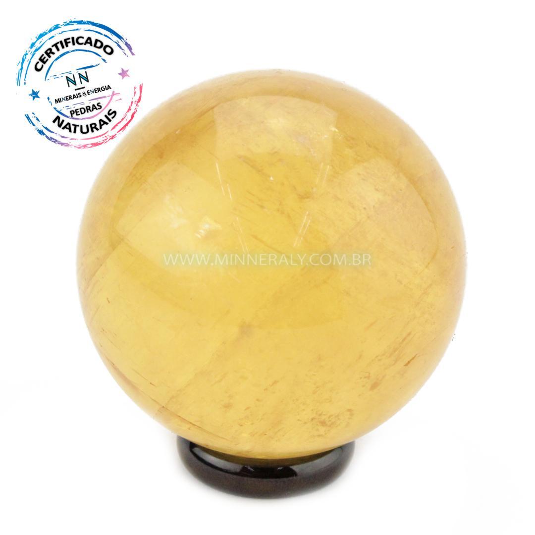 Esfera de Calcita Otica Amarela IN Natura (0,228KG; Diam: 5,4CM)