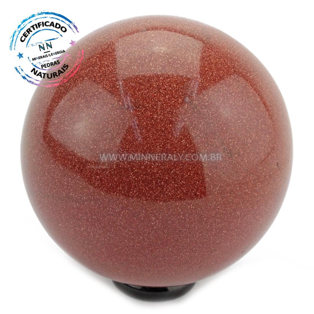 Esfera de GOLD Stone (pedra do SOL) Reconstituida (0,572KG; Diam: 4,9CM)