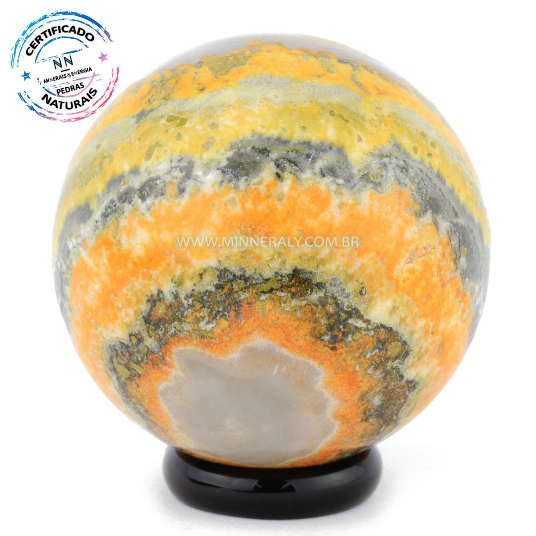 Esfera de Pedra do Eclipse (jaspe Bumblebee ou Mamangaba) IN Natura (0,172KGF; Diam: 5,1CM)