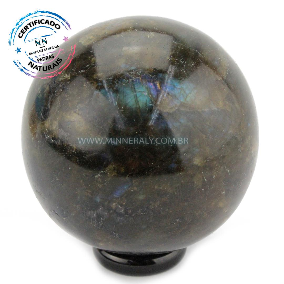 Esfera de Labradorita (espectrolita) IN Natura (0,350KG; Diam: 6,2CM)