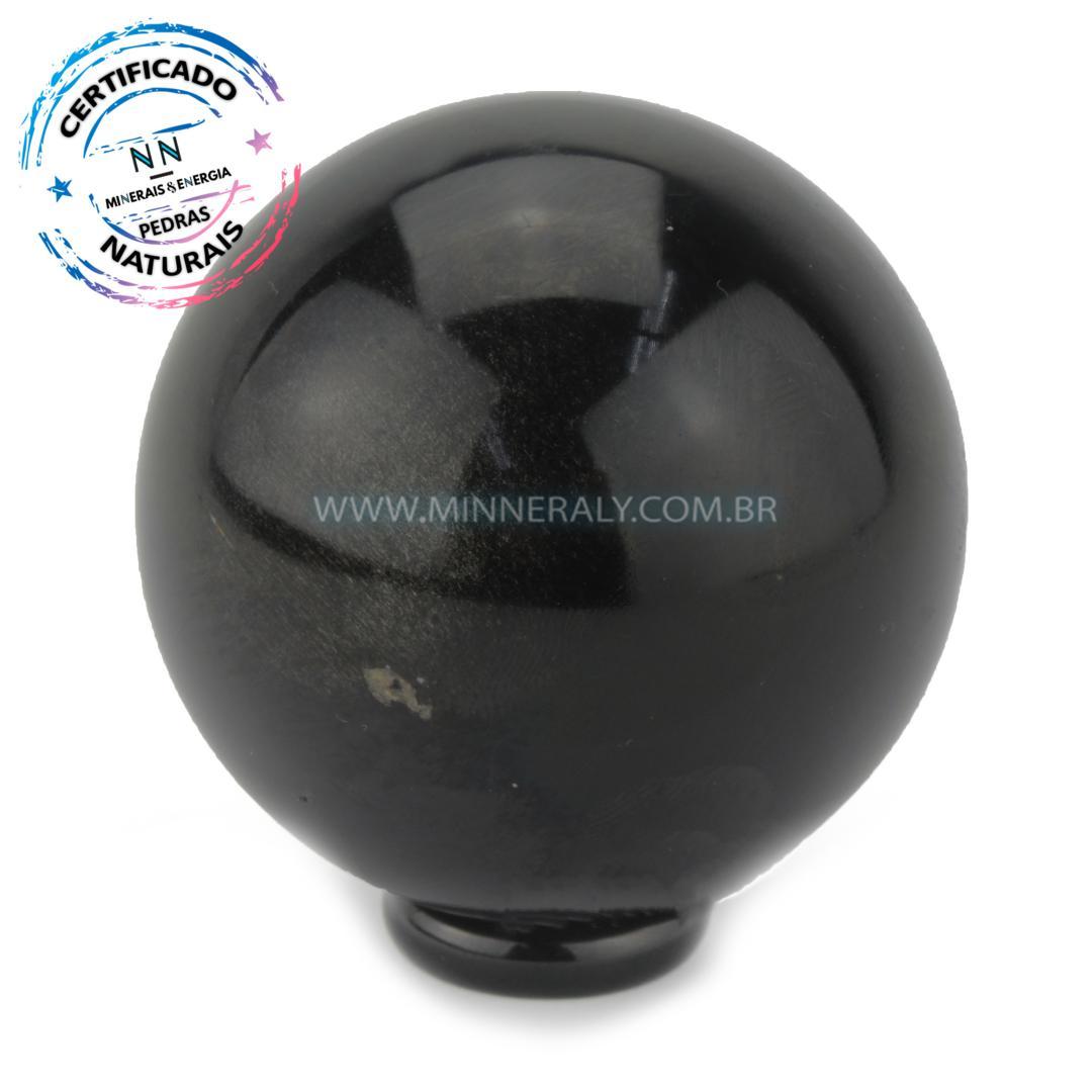 Esfera de Obsidiana Preta IN Natura (0,308KG; Diam: 6,2CM)