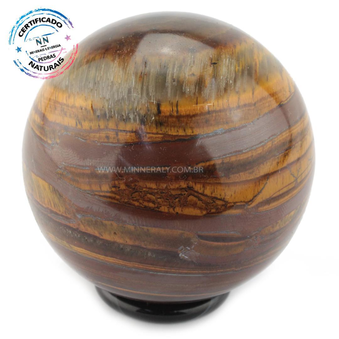 Esfera de OLHO de Tigre (dourado) IN Natura (0,440KG; Diam: 7,0CM)