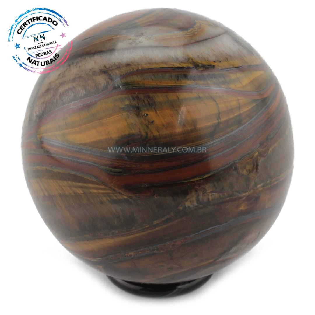 Esfera de OLHO de Tigre (dourado) IN Natura (0,646KG; Diam: 7,6CM)