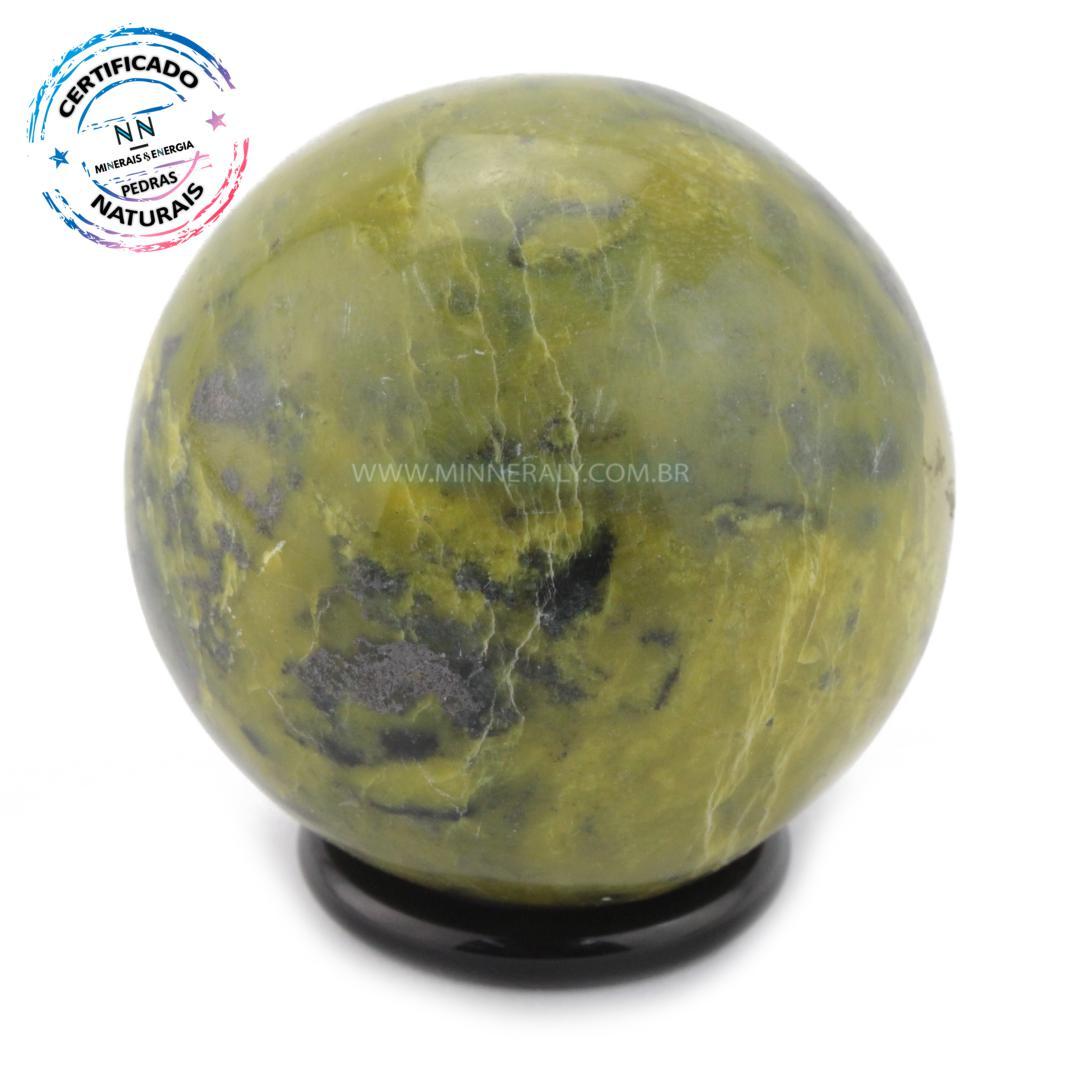 Esfera de Pedra do Infinito (serpentina VERDE-CLARA) IN Natura (0,220KG; Diam: 5,4CM)