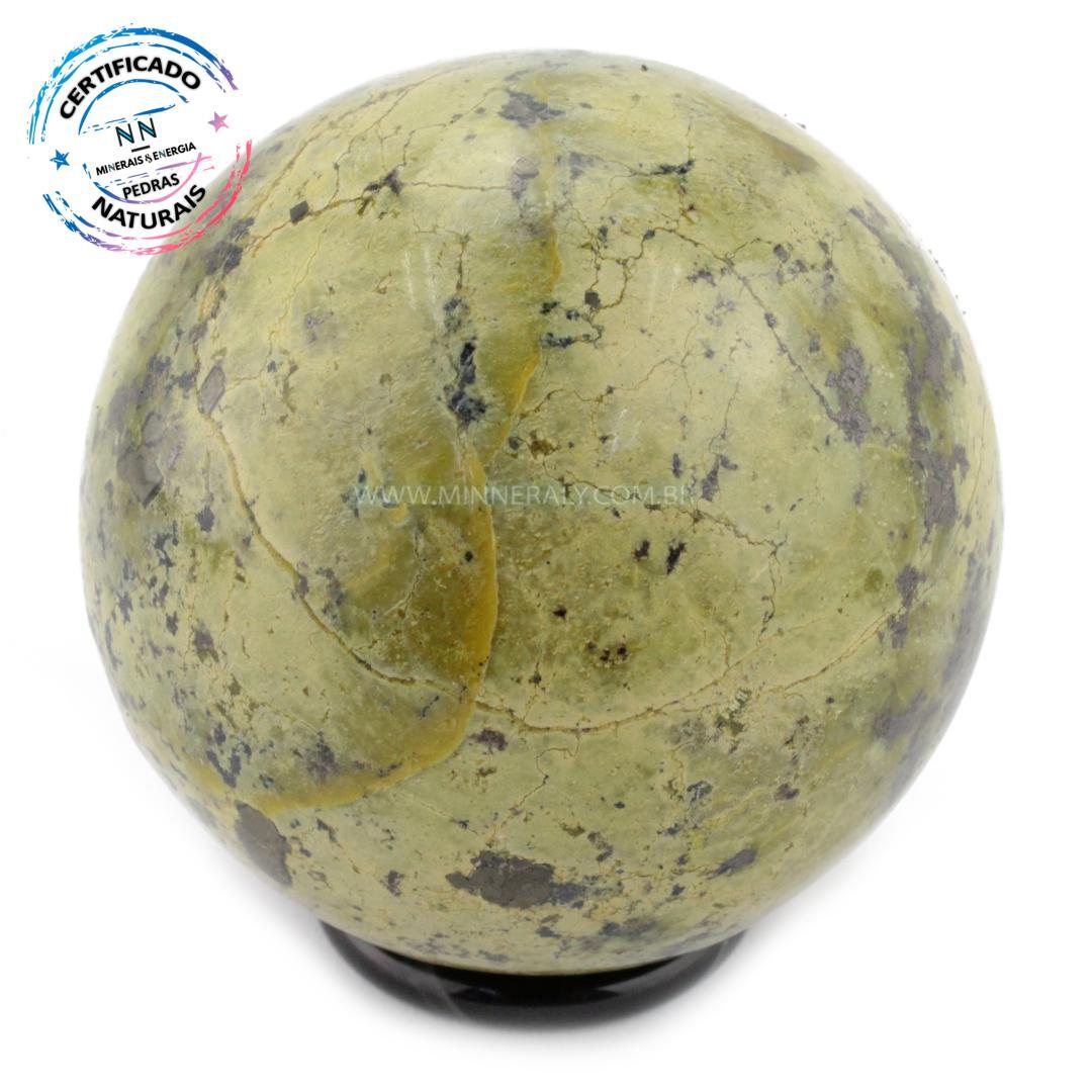Esfera de Pedra do Infinito (serpentina VERDE-CLARA) IN Natura (0,370KG; Diam: 6,4CM)