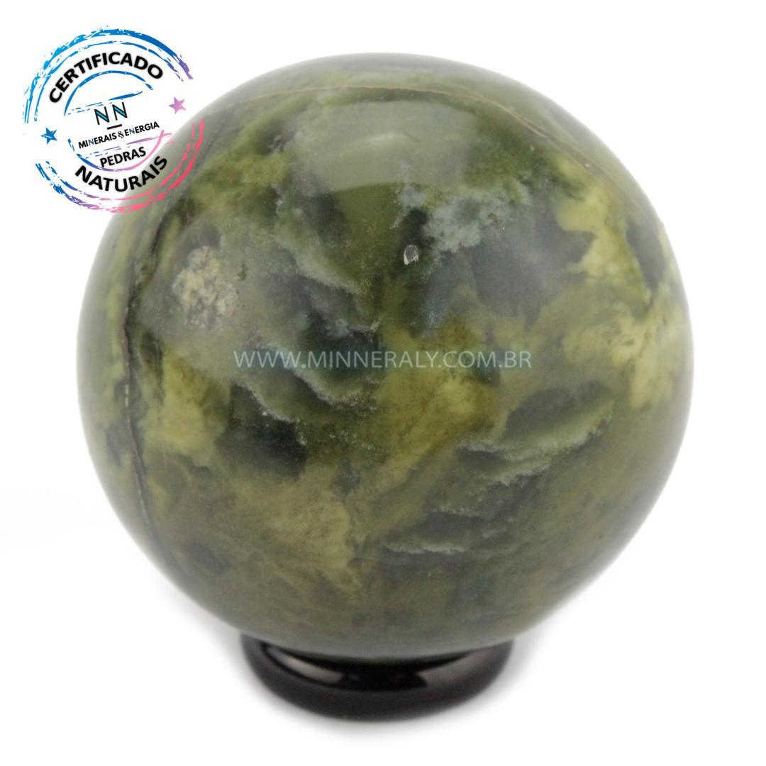 Esfera de Pedra do Infinito (serpentinita VERDE-CLARA) IN Natura (0,224KG; Diam: 5,5CM)