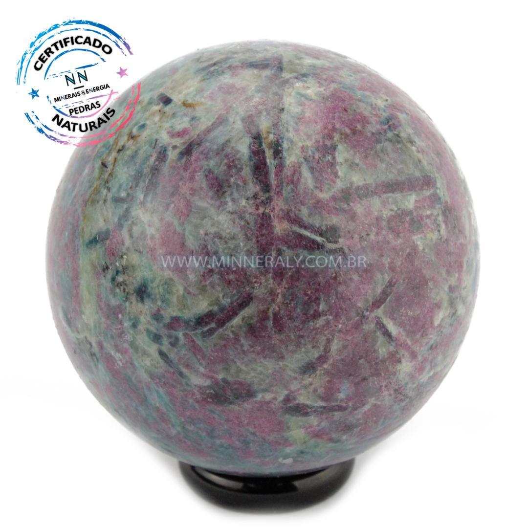 Esfera de Rubi com Cianita IN Natura (0,366KG; Diam: 6,0CM)