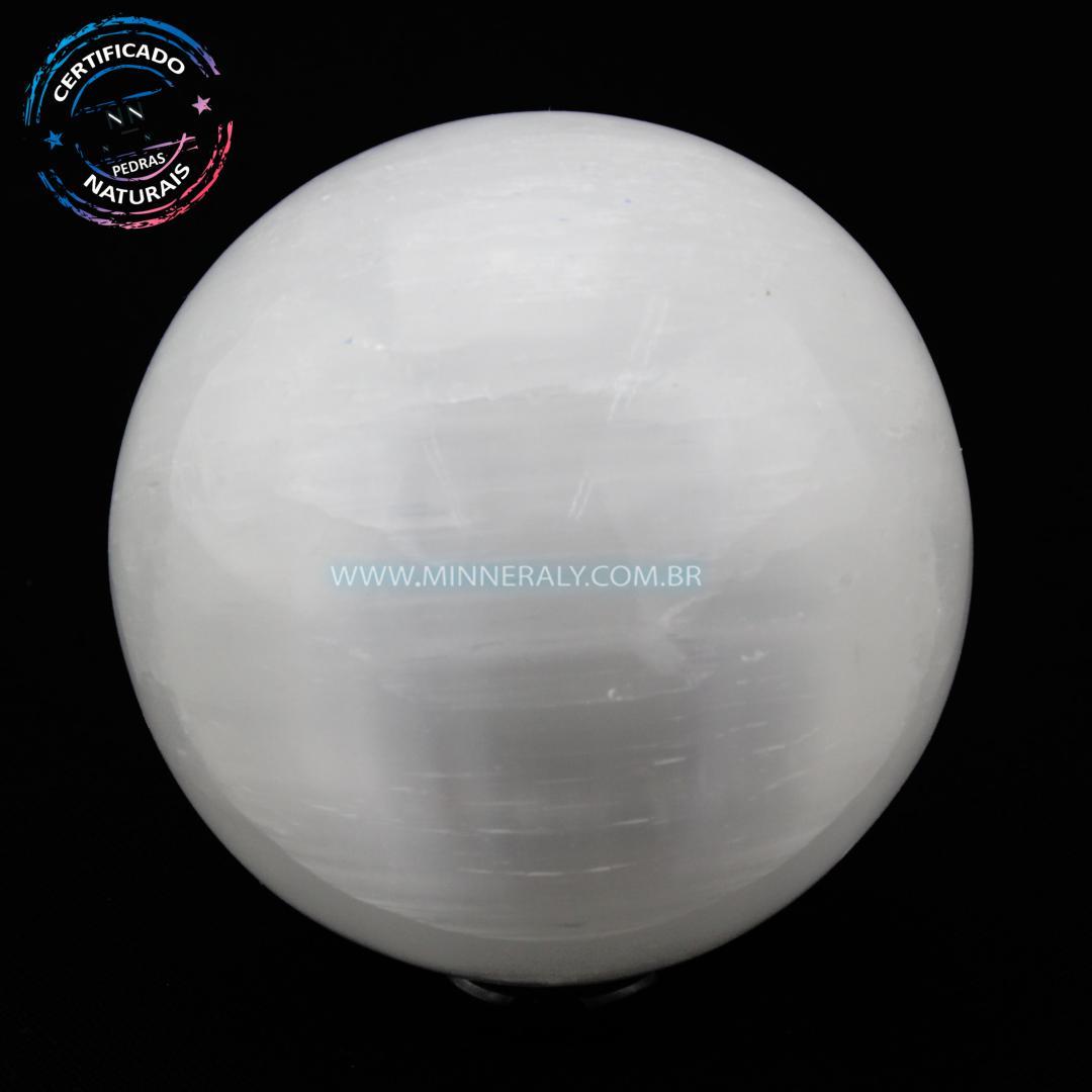 Esfera de Selenita Branca in Natura (1,000kg; 8,5cm) #NN202
