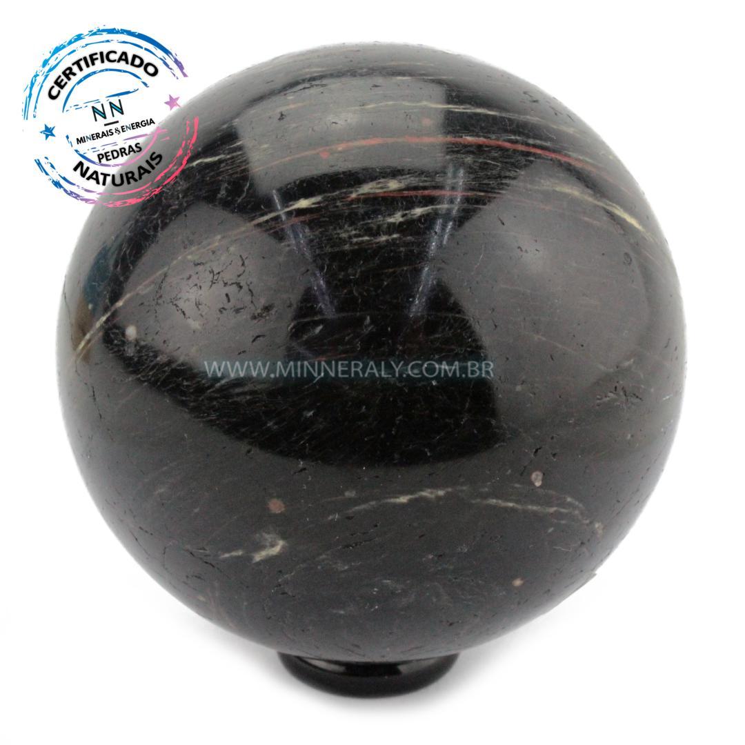 Esfera de Turmalina Preta (negra ou Schorlina) IN Natura (0,398KG; Diam: 6,7CM)