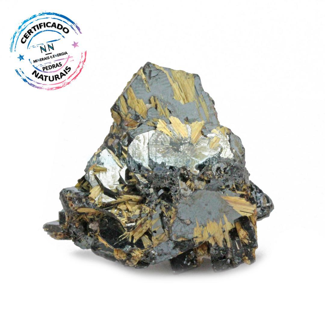 Hematita com Rutilo Dourado IN Natura em Bruto (0,060KG; ALT: 4,0CM; COMP: 4,2CM; LARG: 2,7CM)