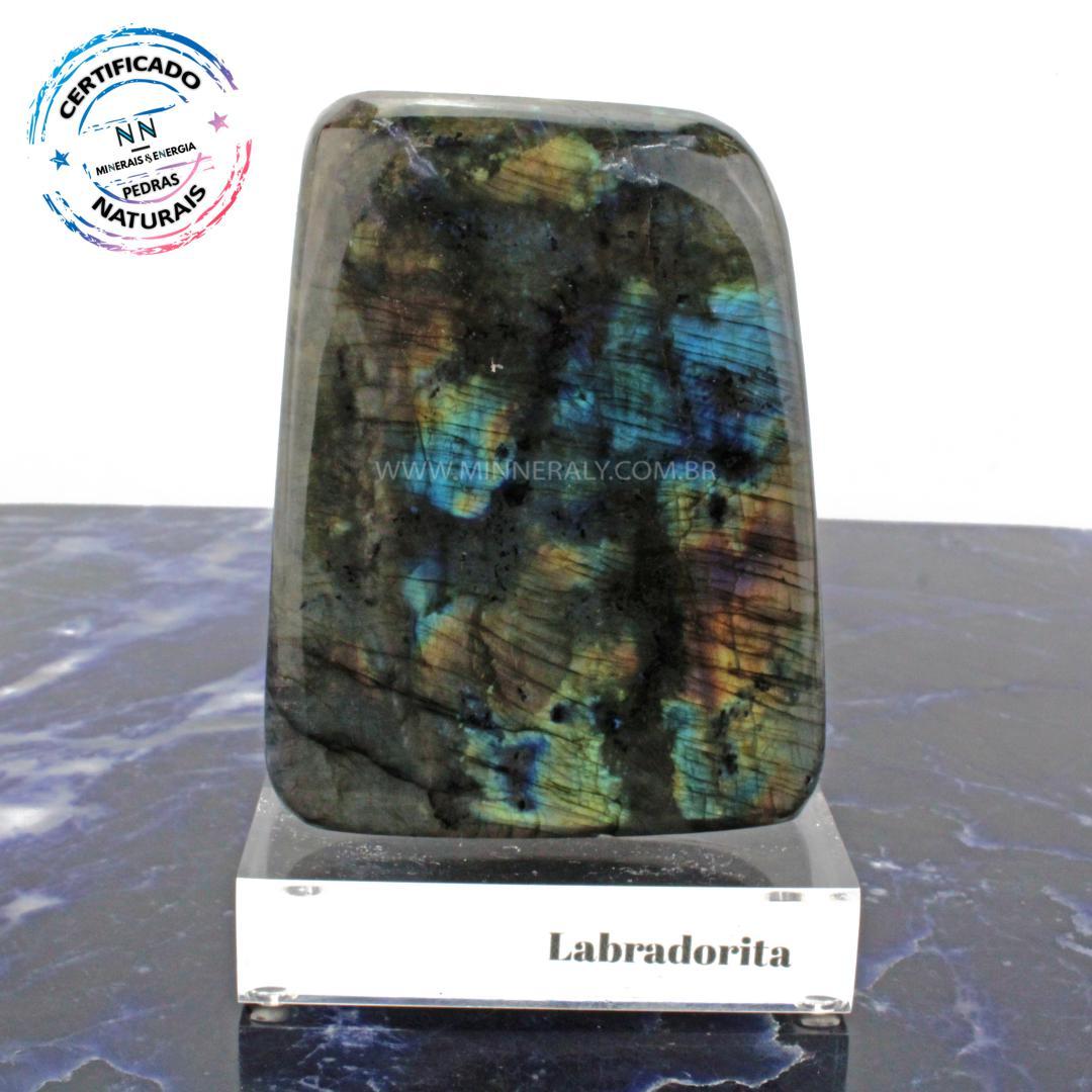 Labradorita (espectrolita) IN Natura Clear.collection (0,925KG; ALT: 13,1CM; COMP: 8,5CM; LARG: 3,8CM)