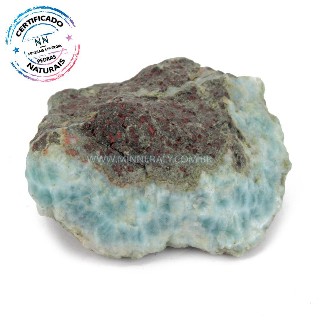 Larimar (pedra Golfinho ou Pectolita AZUL) IN Natura em Bruto (0,080KG; ALT: 2,6CM; COMP: 5,0CM; LARG: 4,4CM)