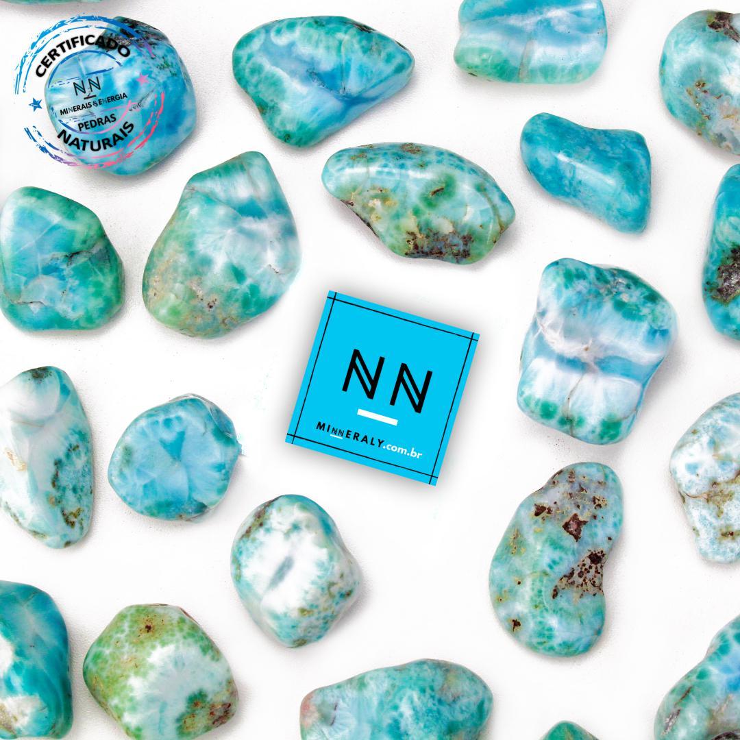 Larimar (Pedra Golfinho ou Pectolita Azul) in Natura Rolada/Peça