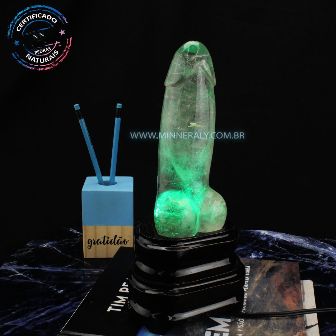 Luminaria Penis de Quartzo ou Cristal Fume (enfumacado) IN Natura (1,654KG; ALT: 27,5CM)