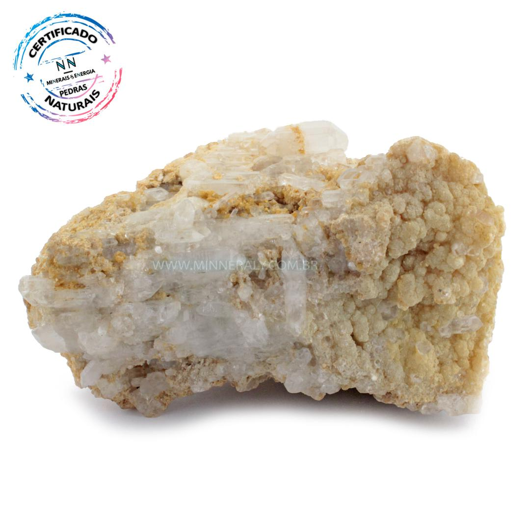 Mica Amarela com Quartzo ou Cristal Branco IN Natura em Bruto (0,940KG; ALT: 7,6CM; COMP: 13,4CM; LARG: 9,1CM)