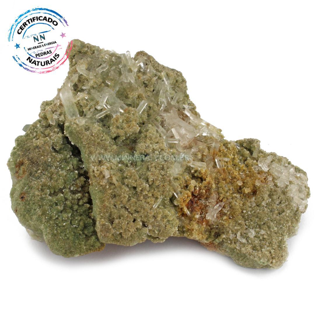 Mica Verde com Cristal IN Natura Bruto (0,405KG; ALT: 8,3CM; COMP: 12,7CM; LARG: 5,4CM)