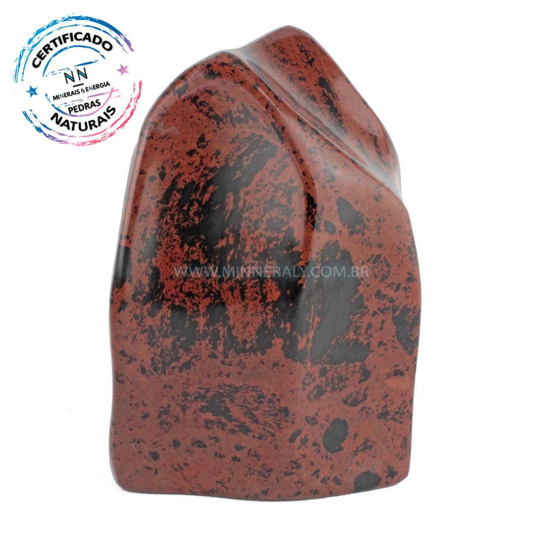 Obsidiana COR de Mogno (marrom ou Mahagony) IN Natura Polido (2,512KG; ALT: 18,5CM; COMP; 12,5CM; LARG: 8,9CM)