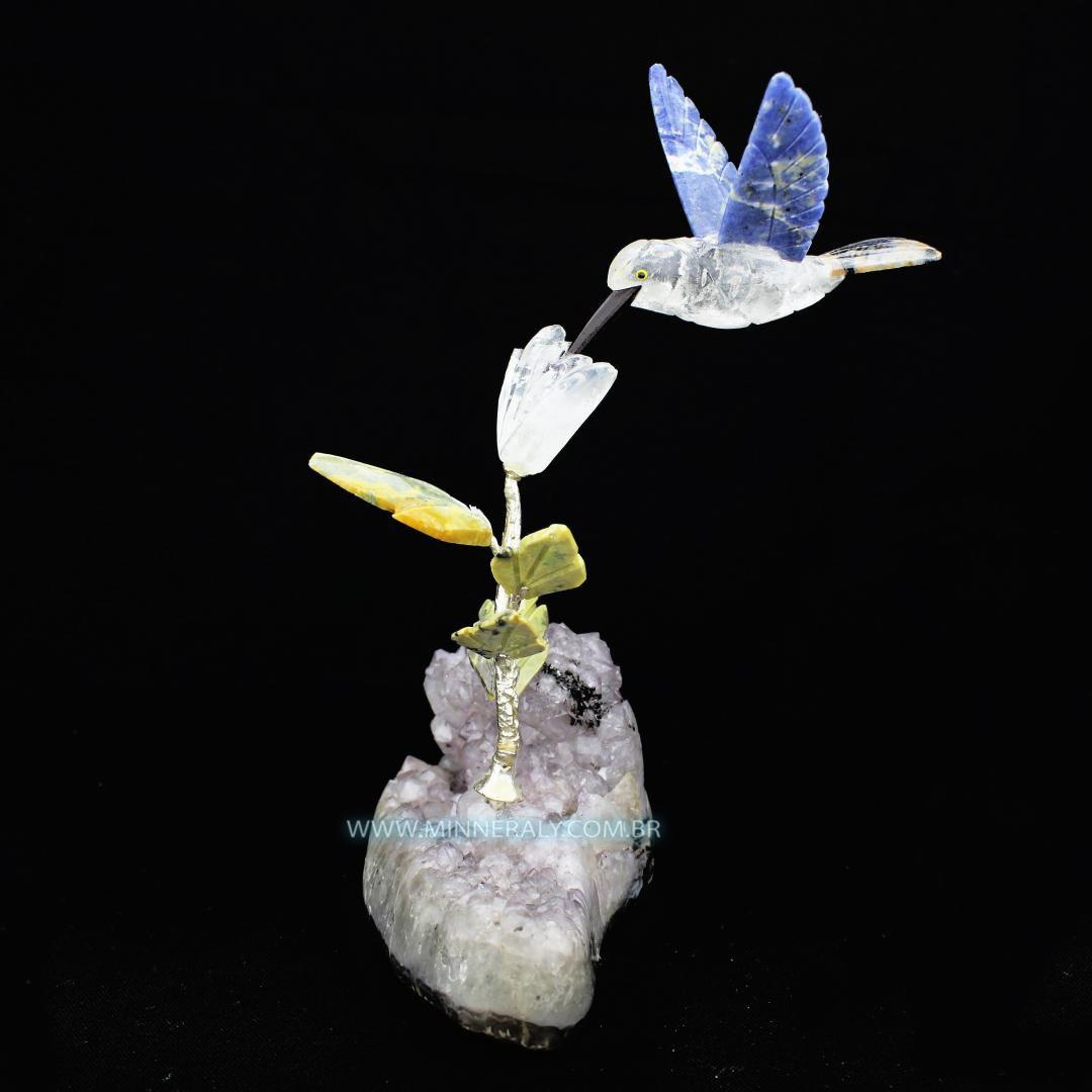 Beija Flor de Cristal em Drusa de Ametista  in Natura #NN119