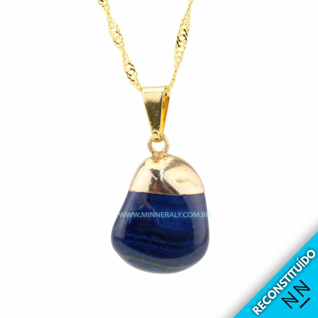 Pingenete de Ágata Azul Reconstituído Dourado #NN164